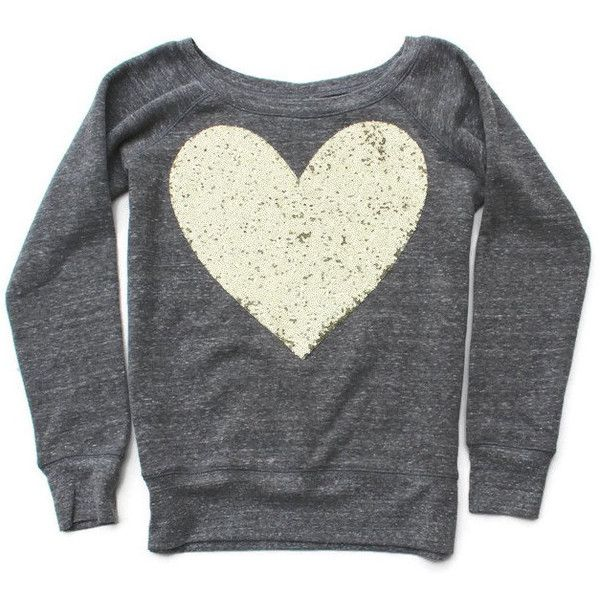 Valentines Day Shirt Sequin Heart Patch Sweatshirt Heart Sweatshirt... ($55) ❤ liked on Polyvore featuring tops, hoodies, sweatshirts, gold, women's clothing, sequin heart shirt, oversized sweatshirts, slouchy sweatshirt, oversized shirt and heart sweatshirt