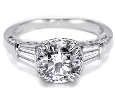 Wide swaths of art-deco diamond baguettes bloom the classic solitaire for a look that's sexy, strong, and super stylish.: Rings 2625, Tacori Diamonds, Diamonds Baguette, Delicate Diamonds, Art Deco Diamond, Center Stones, Diamonds Details, Pave Engagement Rings, Dreams Rings