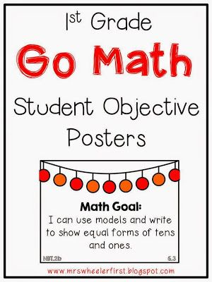 First Grade Go Math Objective/Goal Posters