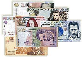 Colombian pesos - Bank Notes (Bills) • $1,000 pesos: Jorge Eliécer Gaitán. A Leader • $2,000 pesos: The General, Francisco De Paula Santander • $5,000 pesos: The Poet, José Asunción Silva • $10,000 pesos: Policarpa Salavarrieta,  A  Heroine of the Colombian Independence  • $20,000 pesos: An Eminent Scientist, Julio Garavito Armero • $50,.000 pesos: The writer, Jorge Isaac   Coins $100 pesos: Coat of Arms $200 pesos: A quimbaya object $500 pesos: The Guacari tree