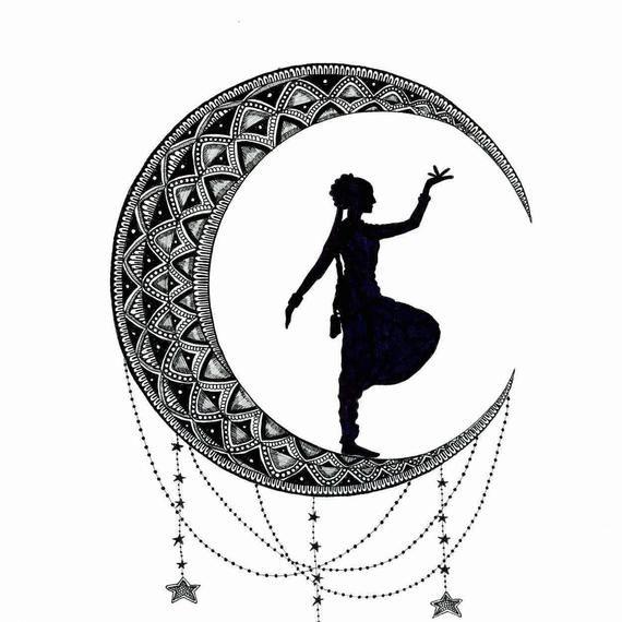 Bharatanatyam Dancer Silhouette Crescent Moon Digital Etsy Dancer Silhouette Bharatanatyam Dancer Dance Paintings