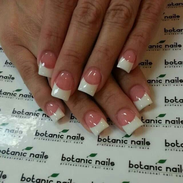 Neutral pink base white french tip square cut gel nails