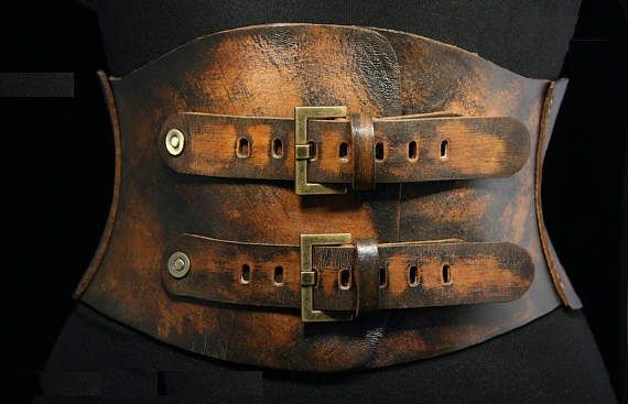 Brown leather corset belt Wide waist belt Womens leather belt