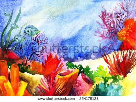 Underwater landscape with coral reef. Hand painted watercolor illustration