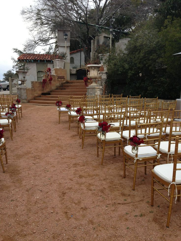 Butterfly Garden Ceremony With Gold Chiavari Chairs From Rosemaryu0027s  Catering.