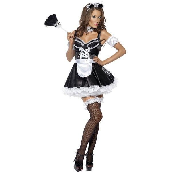 Adult Flirty French Maid Sexy Costume ($37) ❤ liked on Polyvore featuring costumes, halloween costumes, multicolor, white costume, sexy maid halloween costume, colorful halloween costumes, adult halloween costumes and sexy halloween costumes