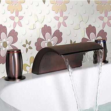 olie gewreven brons waterval badkamer Wastafelkranen
