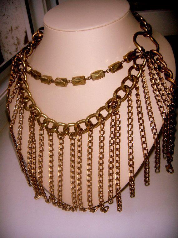 necklace CARA NY  FANTASTIC chunky от ODMIVINTAGE на Etsy
