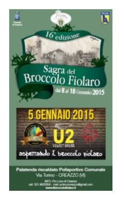 Sagra del Broccolo Fiolaro - Broccoli Festival, Jan. 8-Jan. 18, Through Jan. 18 in Creazzo, sports center, Via Torino 10, about 5 miles west of Vicenza. The broccolo fiolaro is a typical crop of the Creazzo hills, its name derived from the several sprouts along the stalk of the plant, which in Venetian dialect are called fioi, or offspring. Food booths featuring gnocchi with broccoli, traditional fritola, or doughnut, and typical Creazzo dishes, open at 6:30 p.m.