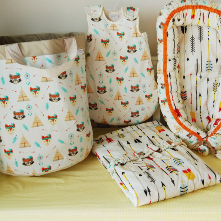 Home & Living  tribal nursery  baby blanket  baby set  baby nest  baby cocoon  co-sleeper  baby shower gift new baby gift  Sleeping bag  baby nightwear  baby pyjamas  basket for toys  racoon print
