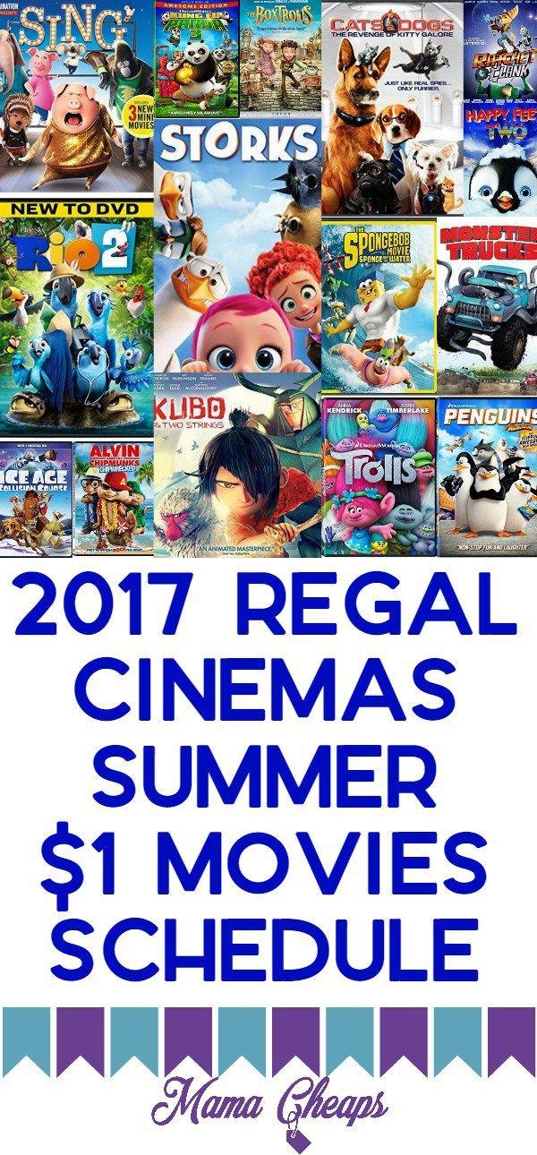 2017 Regal Cinemas Summer $1 Movies Schedule is right here!!