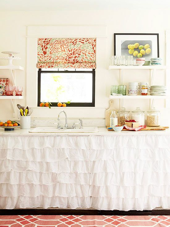 THIS is fun and unexpected - clean up space for studio Ruffled curtains add a splash of style More decorating a small house on a budget: http://www.bhg.com/decorating/small-spaces/homes/small-house-budget-decorating/?socsrc=bhgpin100813kitchencurtainspage=8