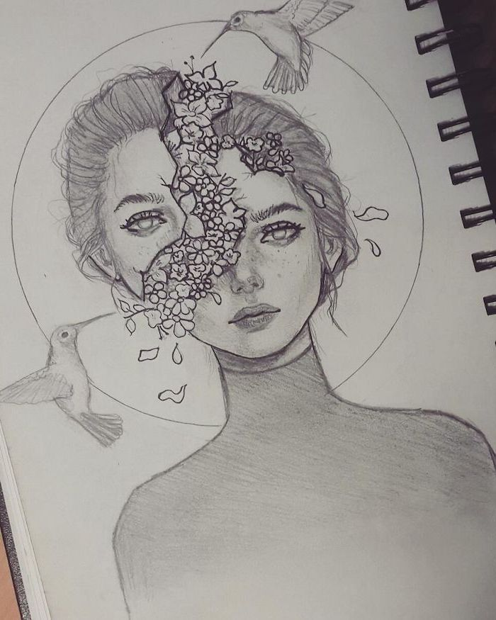 Black and white sketch of a girl, head split, flower comes out of the head, Fac