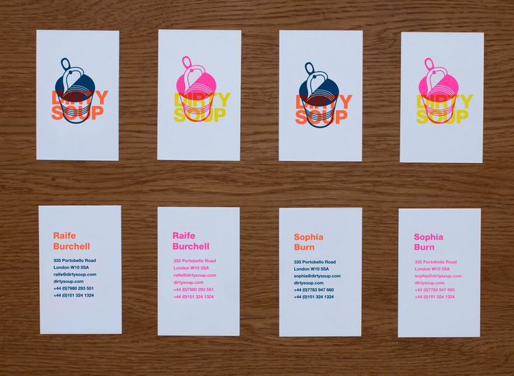 Dirty Soup Brand: Risograph printing  Brand and website for Dirty Soup, a music sync company. We used a range of bright and fluorescent brand colours, printing the Bcards on a Risograph machine.
