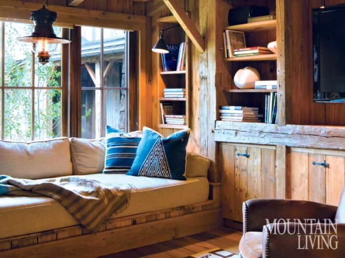 A cozy library in a renovated 19th-century Sun Valley barn. Photo by David O. Marlow Barn Again   Mountain Living