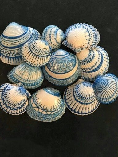 Sharpied Sea Shells: Use 1.0 size sharpie, following lines, curves & doodle away! By Barbara Moloney Callen