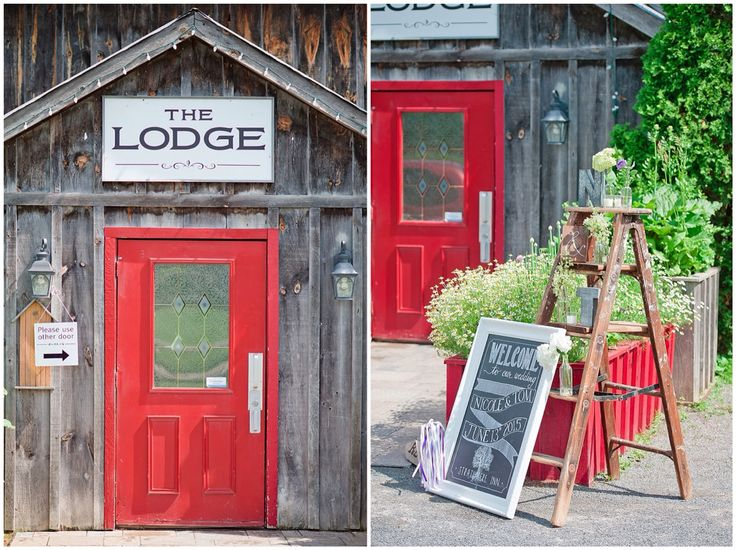 Rustic wedding decor. Antique ladder with flowers and front entrance to the Lodge