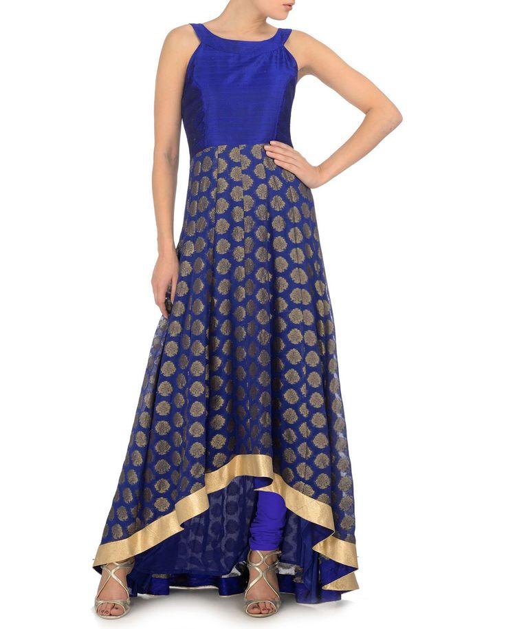 Royal Blue Anarkali Kurta Set with Asymmetric Hem