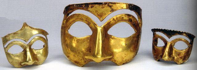 Golden masks excavated in Kalmakareh, Lorestan, Iran. First half of first Millennium BC. National Museum of Iran.