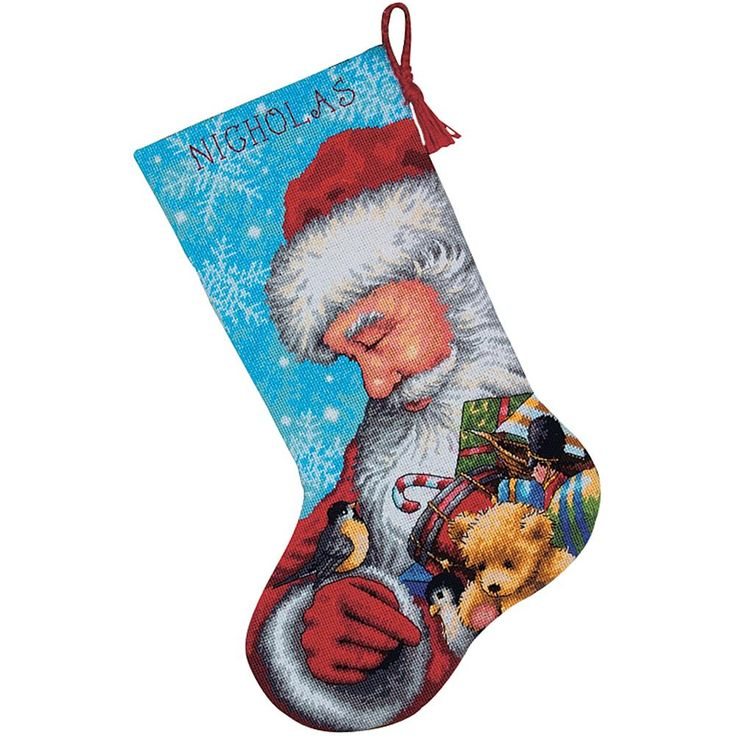 DIMENSIONS Santa And Toys Needlepoint Stocking Kit Stitched in Floss