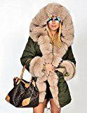 Roiii Women Hooded Parka Faux Fur Winter Warm Ladies Casual Long Jacket Coat Top (Medium Army Green)