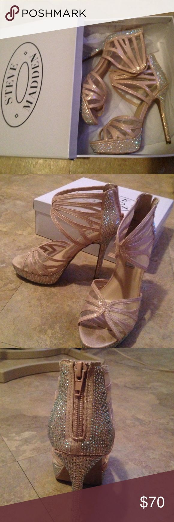 "Steve Madden ""Glitzy Blush"" prom heels I'd hate to get rid of them but I know I'll never have anywhere to wear them to again worn once for prom, gorgeous. Same color as the dress Steve Madden Shoes Heels"