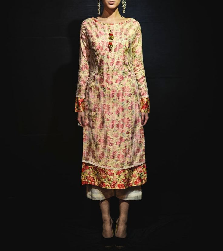#Lemon Floral Printed Cotton #Silk #Kurta With Off White #Palazzos by #Megha And #Jigar at #Indianroots