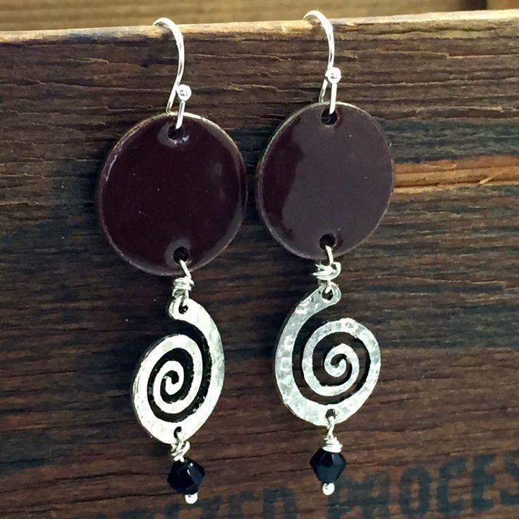 Boho Indie Style Earrings, Torch Fired Enamel Jewelry, Tribal Style Jewelry, Penny Earrings, Dangle Style Silver and Brown Earrings by kyleemaedesigns on Etsy