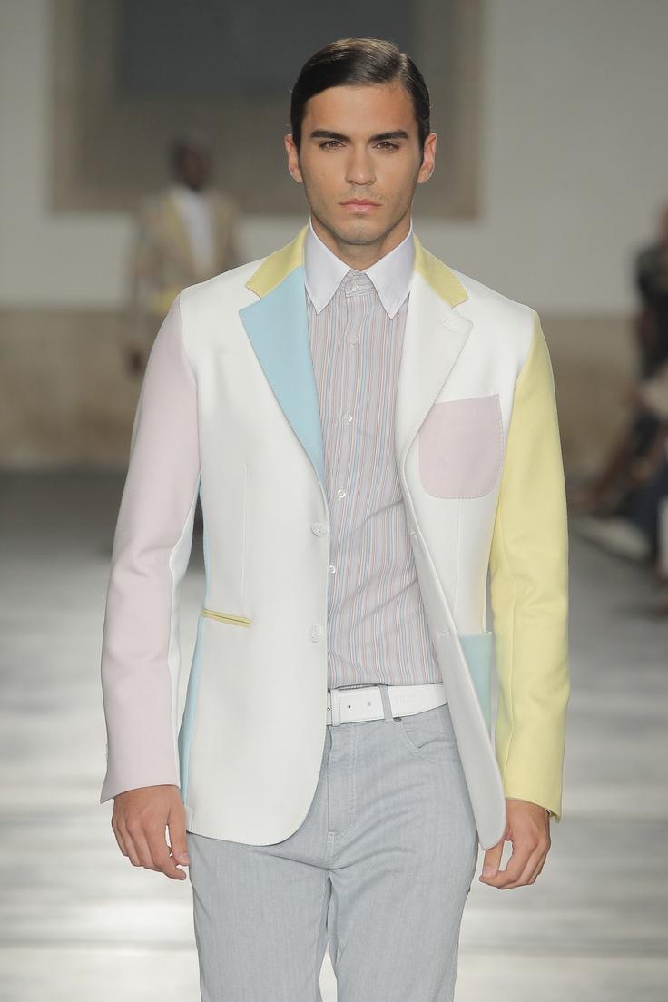 Pastel color block blazer
