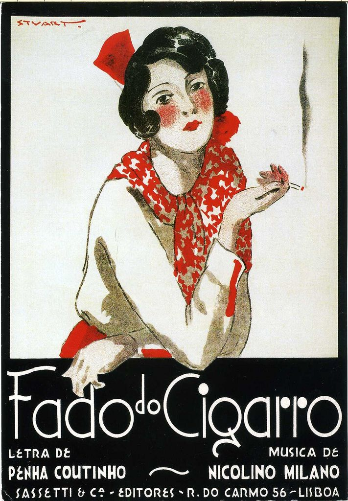 "https://flic.kr/p/5ZWp95 | PT-72124 | Arrived 13th February 2009, travel time 11 days. GREAT vintage poster card! ""Fado do Cigarro"" by portuguese illustrator Stuart Carvalhais (1887-1961)."