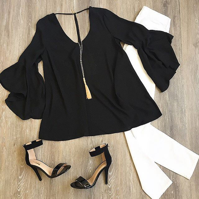 Bell Sleeve Top Black Bell Sleeve Top Date Night Outfit Girls Night Outfit
