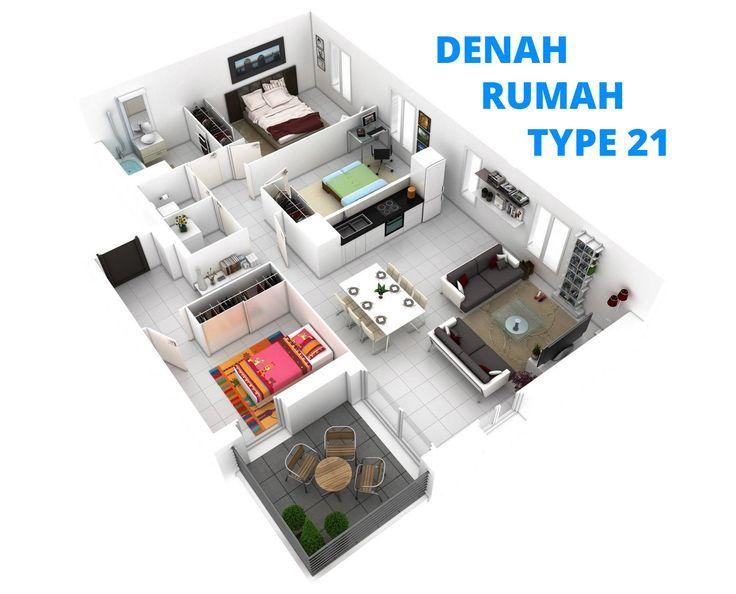 Denah Rumah Type 21 - Desain Minimalis