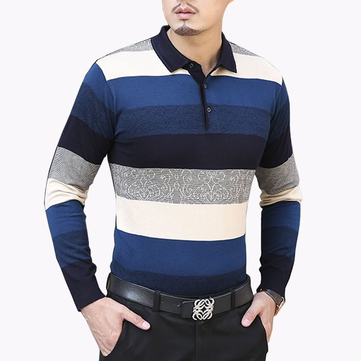 2016 Autumn Men's Casual Sweater Fashion Striped Turn Down Collar Sweater Mens Clothing Trend High Quality Mens Wool Sweater 8XL