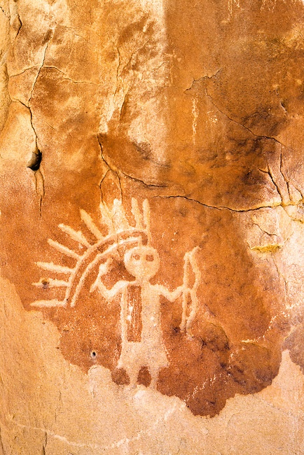 A petroglyph of the Monster Slayer, one of the Hero Twins. This petroglyph was created by the Dinetah, the ancestors of the Navajo people. Largo Canyon, New Mexico. Copyright:Adam Schallau