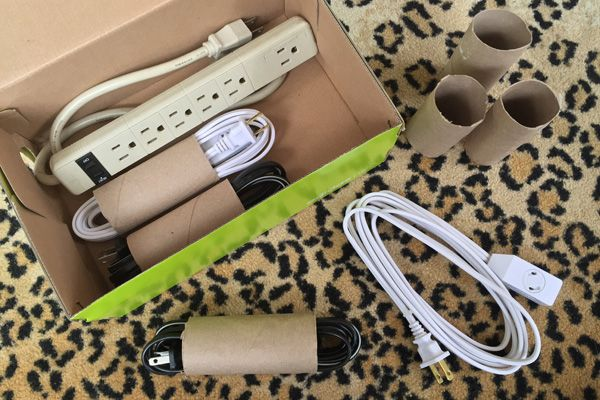 Fit as many extension cords in a box as possible by winding each one into a 6-inch coil and inserting it into its own toilet paper roll.