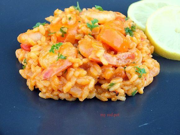 Paprykowe risotto z krewetkami