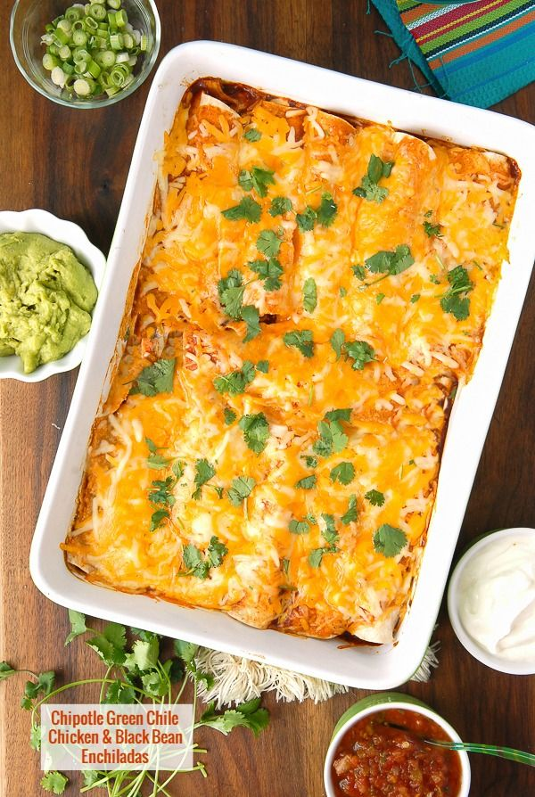 Smoky, spicy Chipotle Green Chile Chicken and Black Bean Enchiladas ...