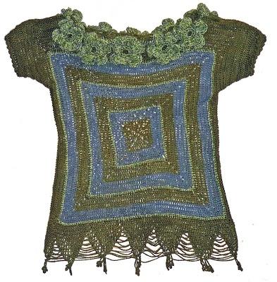 Blusa de la serie Oaxaca, en Hilo Textil Amazonas: verde y gris, Talla M