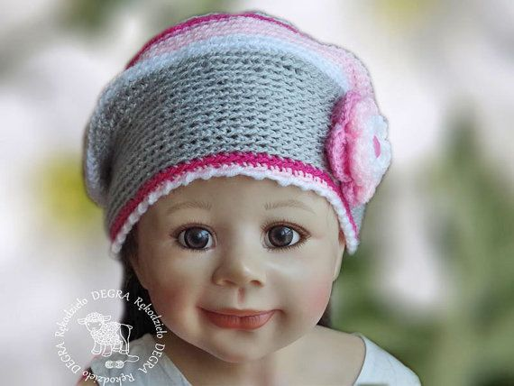 Crochet Children's hat  toddler cap pink white grey color flower soft lovely warm cozy Children 4-6 years