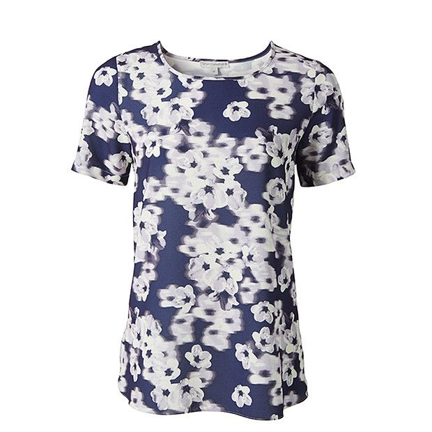 Floral Print Dipped Hem Top