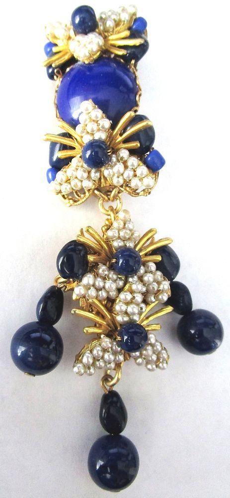 """(This stunning pin is gold tone with hand wired lapis blue glass beads and faux pearls. It is 4"""" long. Stunning piece! It is not my intention to willfully misrepresent or defraud anyone!). I will then AND ONLY THEN! 