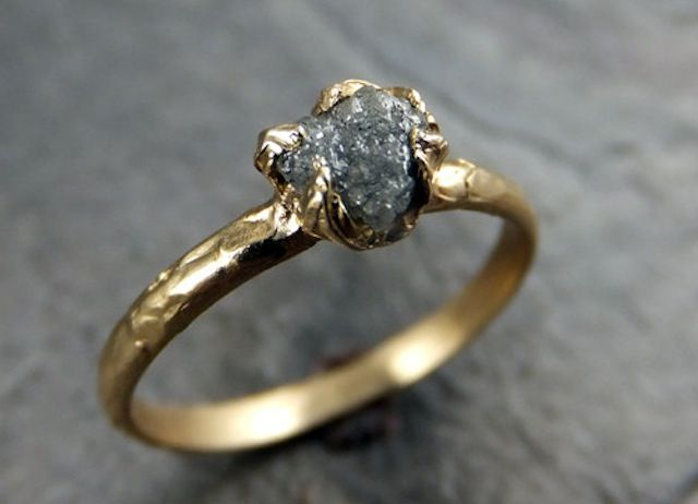 Raw Diamond Engagement Ring Rough Uncut Solitaire Recycled Gold Conflict Free Wedding Promise By Angeline