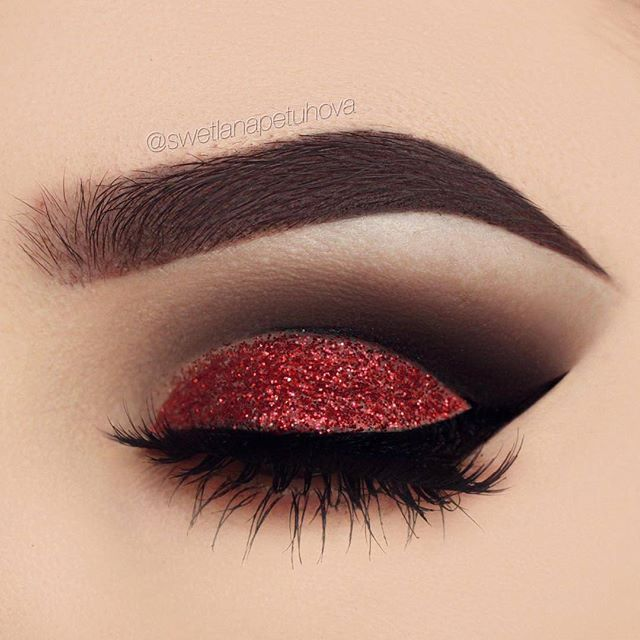 """All i want for Christmas is ....makeup this perfect."" @swetlanapetuhova is definitely on the nice list with this red glitter look & our #NoirFairyLashes! ❤️ Repost: Brows: @anastasiabeverlyhills dipbrow ""dark brown"" Eyeshadow: @anastasiabeverlyhills shadow couture palette ""fudge"" and ""noir"" Liner: @tartecosmetics tarteist liner Glitter: @_glittereyes_ Lashes: @houseoflashes noir fairy blk #houseoflashes #lashes #lashgamestrong #lashfocus #motd #makeuplooks"