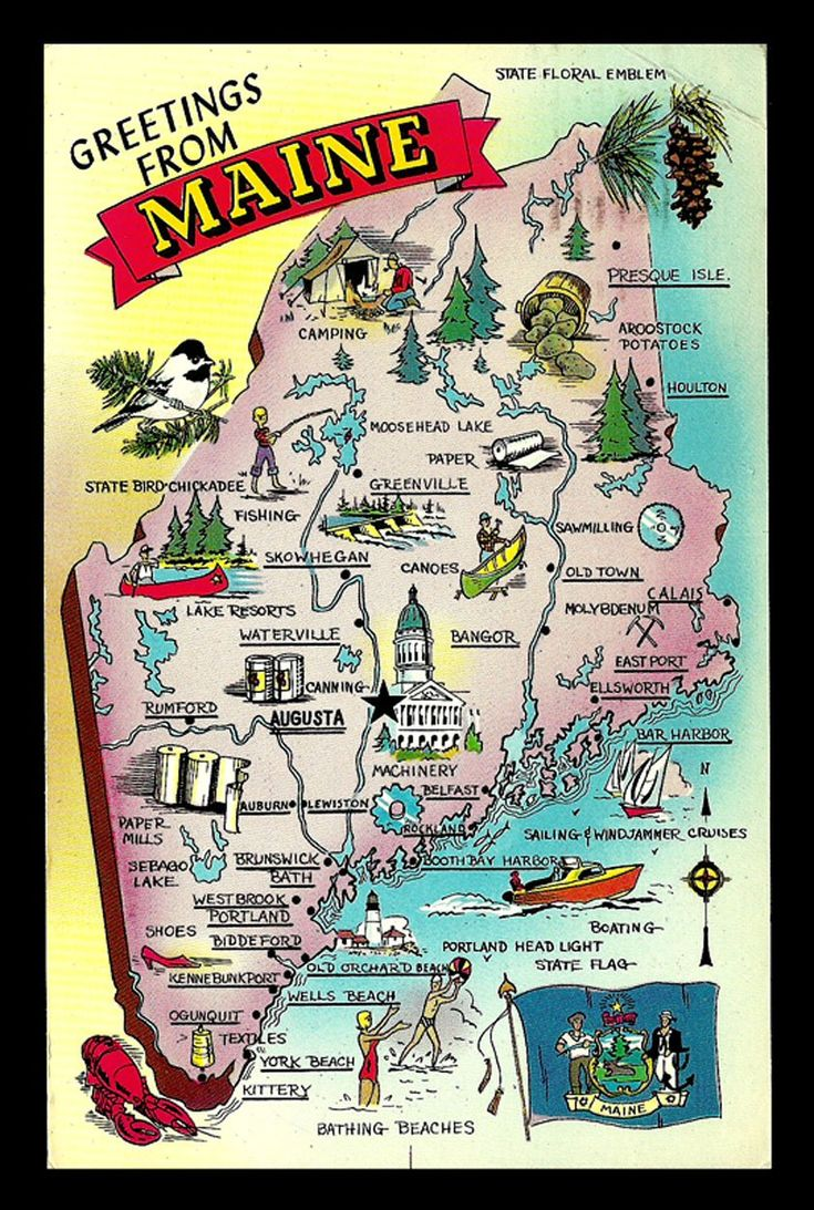 Maine Map Postcard 1966 Maine Greetings Pictorial Icons Cities