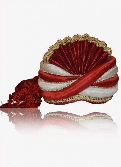 Amazing Offwhite & Red Rawsilk Turban