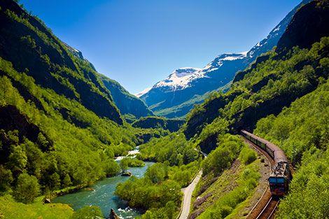 Bergen Line with Flåm Railway between Oslo and Bergen via Flåm (Norway)