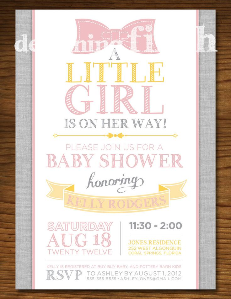 Baby Shower Yellow And Pink ~ Little girl baby shower invitation with bow vintage pink