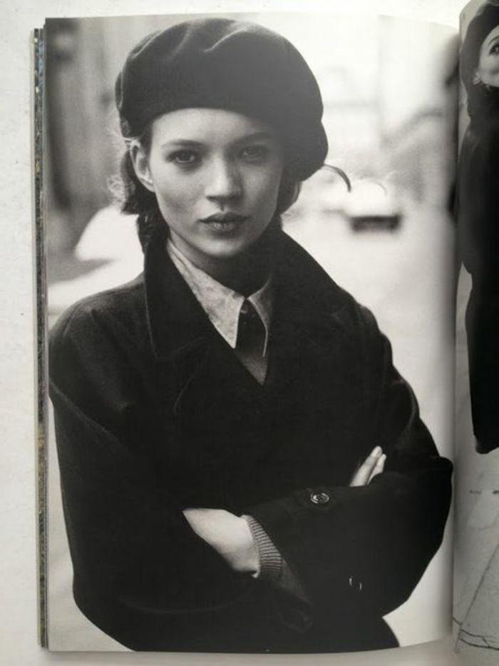 béret casquette noir pour les filles retro