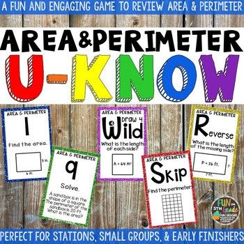 Area & Perimeter Game for Math Centers or Stations: U-Know