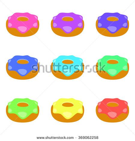 Set of donuts isolated on white background. Colorful Donuts.Vector illustration. - stock vector